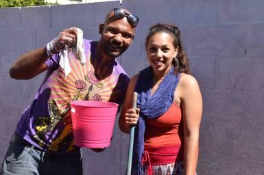 Santa Cruz community member Drew Glover shows his support